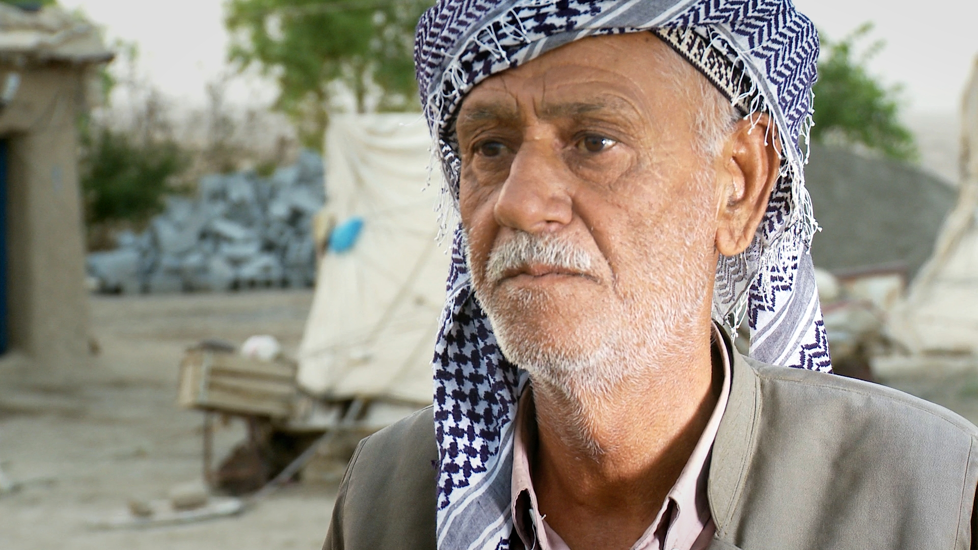 SADOUN REZA MAHMOUD's father, grandfather and ancestors had farmed in Chalistan in the Kirkuk region. However, in 1963 his family were driven from their lands by Arab fighters from the National Guard, who were acting on orders from the Ba'ath regime. Sadoun returned in 2003, but without their inheritance his family are forced to live in tents and fear eviction.