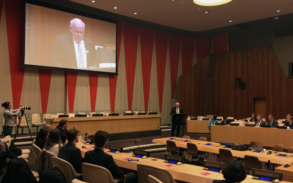 KMP founder Gwynne Roberts addresses dignitaries and policymakers at the United Nations in New York.